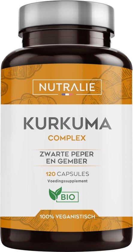 NUTRALIE Biologische Kurkuma(650mg) met Gember(50mg) en Zwarte Peper(10mg) | Geelwortel | Krachtige ontstekingsremmer en antioxidant | 120 Veganistische Capsules
