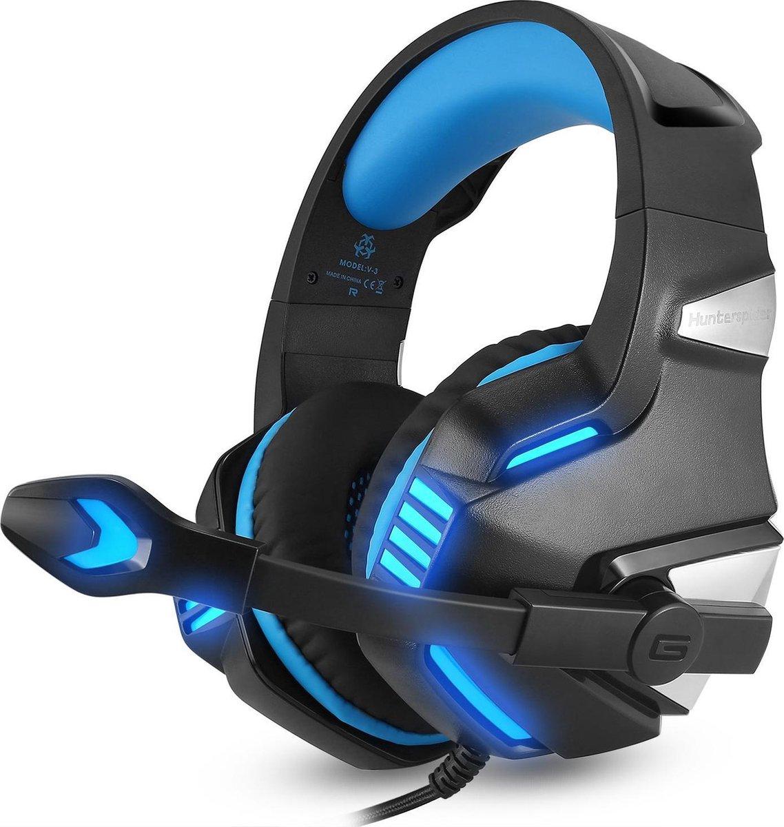 Hunterspider Gaming Headset - Zwart/Blauw - Geschikt voor PS4, Xbox One, Switch & Windows
