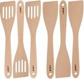Uulki 6-delige Ecologische Bakspaan / Bakspatel / Spatel Set uit Europees Beukenhout - Houten Bakspanen en Spatels Set - Hout