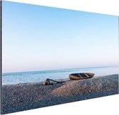 Boot op het strand Aluminium 90x60 cm - Foto print op Aluminium (metaal wanddecoratie) / Zee en Strand