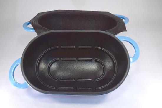 LoafNest: Makkelijkste ambachtelijke broodbakset ter wereld. Cast Iron Casserole (Blue Gradient) en non-stick siliconen Liner