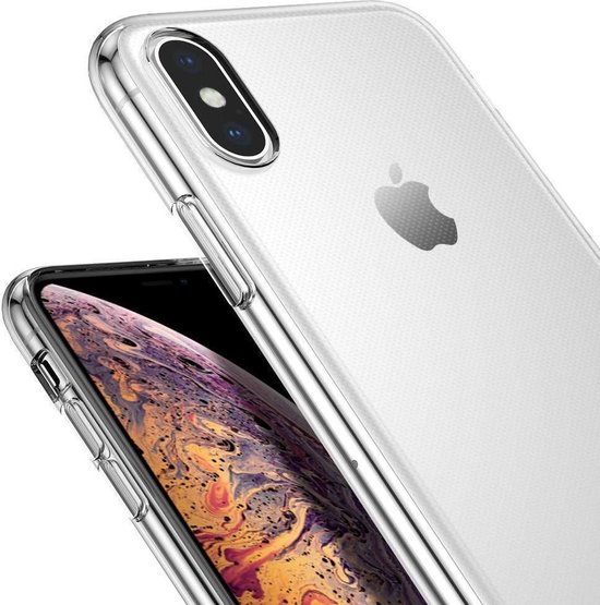 Transparant Hoesje voor Apple iPhone Xs / X Soft TPU Gel Siliconen Case + Tempered Glass Screenprotector Transparant iCall - iCall