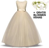 Communie jurk Bruidsmeisjes jurk bruidsjurk champagne 146-152 (150) prinsessen jurk feestjurk + bloemenkrans
