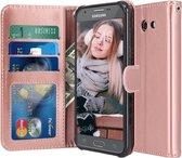 Samsung Galaxy J7 2017 - Book PU lederen Portemonnee hoesje Book case goud