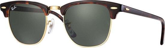 Ray-Ban RayBan Clubmaster Classic zonnebril - tortoise bruin montuur met groene klassieke G-15 lenzen - 51 mm - RB3016 W0366 51-21