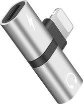 DrPhone Audio Splitter Adapter - Opladen + Audio Beluisteren - 2 in 1 Lightning splitter- Audio & Opladen - Zilver / Zwart