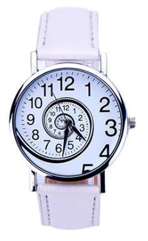 Hidzo Horloge Swirl ø 37 mm – Wit – Kunstleer