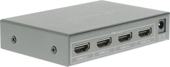Konig HDMI schakelaar 4 naar 1 met afstandsbediening en voedingsadapter