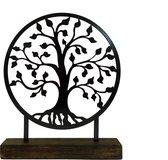 Levensboom staal gecoat -antraciet zwart - in houten voet