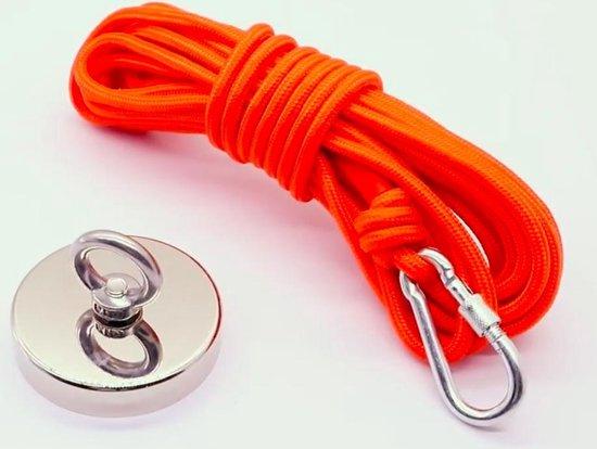 Vismagneet Set - 150 KG Trekkracht - Magneetvissen Met Vismagneten - 10 Meter touw  – Karabijnhaak met schroefdraad