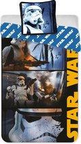 Star Wars - Dekbedovertrek - Eenpersoons - 140x200 cm + 1 kussensloop 63x63 cm - Polyester