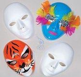 Witte plastic gezichtsmaskers  (6 stuks per verpakking)