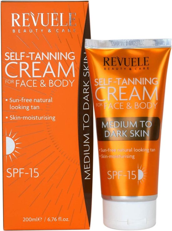 Revuele Self-Tanning Cream for Face and Body - Medium to Dark Skin 200ml.