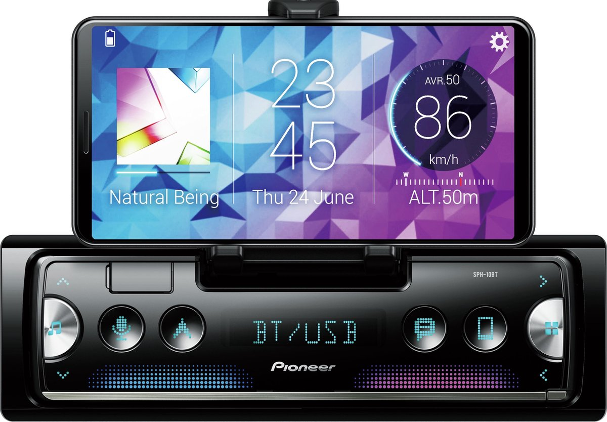 Pioneer SPH-10BT Autoradio Enkel din Smartphone radio-Bluetooth - 4 x 50 W