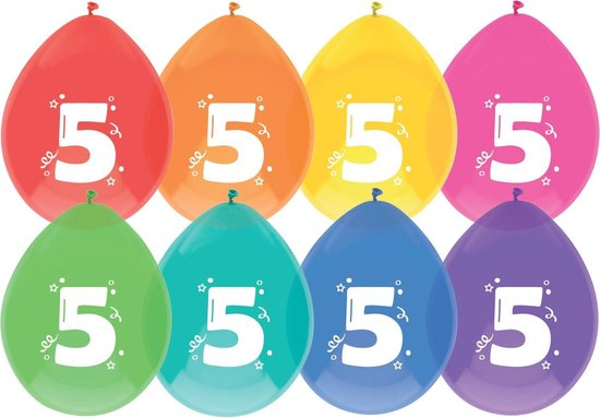 Ballonnen  5 jaar - 8 stuks - assorti kleuren