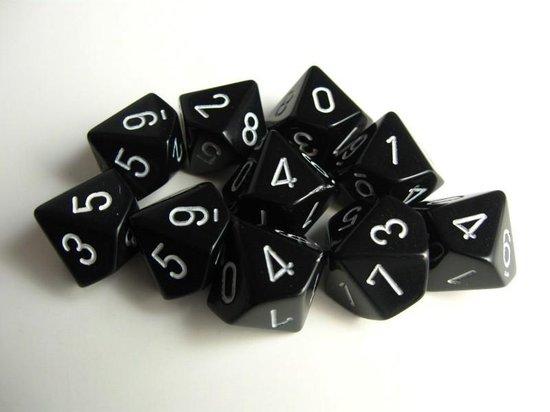 Afbeelding van het spel Chessex dobbelstenen set, 10 10-zijdig, zwart