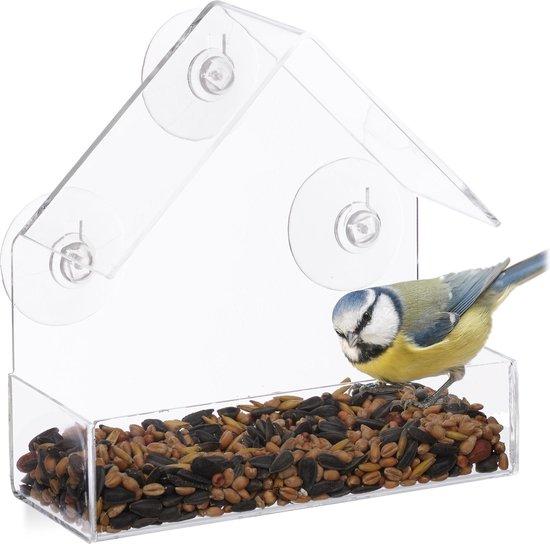 Vogelvoederhuis raam - 3 zuignappen - voederstation vogel - voedersilo voersilo
