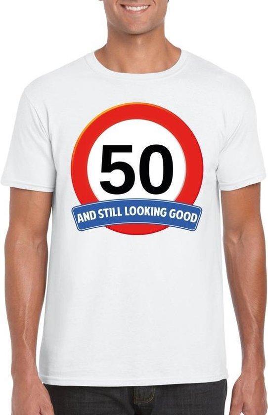 50 jaar and still looking good t-shirt wit - heren - verjaardag Abraham shirts XL