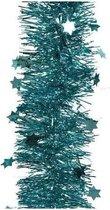 Kerstslinger sterren turquoise blauw 10 cm breed x 270 cm - Guirlande folie lametta - Turquoise blauwe kerstboom versieringen