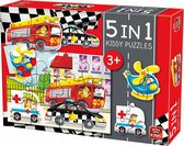 Kiddy Kinderpuzzel Auto's - 5 in 1 Puzzel