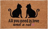 Deurmat all you need is love and a cat - kat