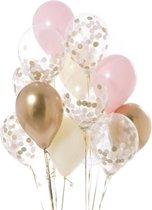 Luxe Ballonnenset Roze Goud Wit Confetti - 12 Stuks - Helium Ballonnen Party Feest Decoratie