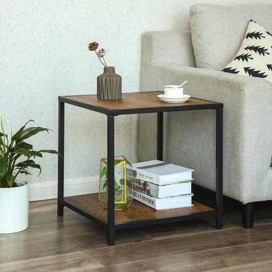 Plant&More-vintage bijzettafel-bruin MDF-Zwart Metaal - Plant&More