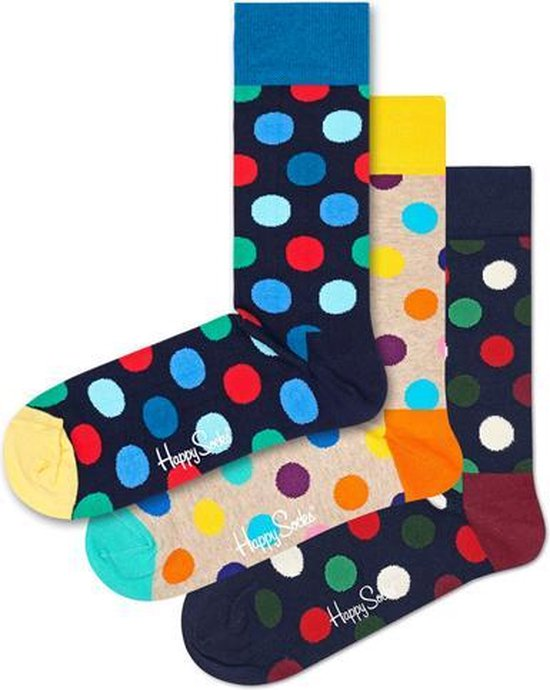3x Happy Socks Big Dot Geschenkset | Maat 36-40