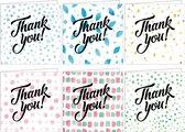 Bedankkaarten - Set van 12 x gevouwen bedankkaart - 14 cm x 14 cm - Inclusief envelop