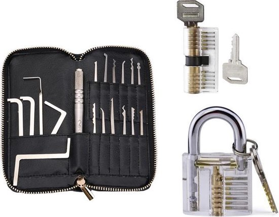 SFRD Products Lock Pick Set - 25 Delig - 2X Doorzichtig Oefenslot