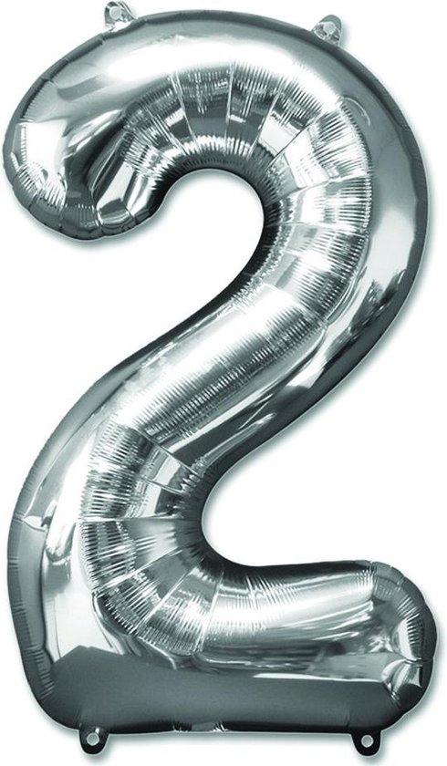 XL Folie Zilver Cijfer 2 Ballon - 100 CM