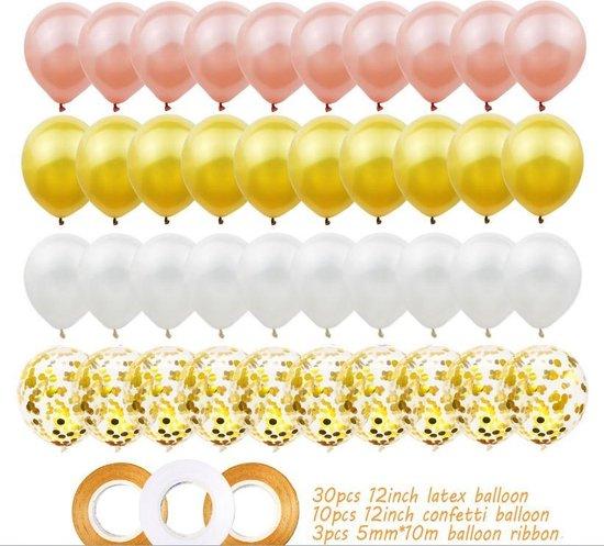 Set van 40 ballonnen en 3 linten. 3 verschillende tinten goudkleurige ballonnen en 1 glinsterende. De linten zijn ook in 2 verschillende wit. Geweldig voor verjaardagsfeestjes, bruiloften of andere feesten.
