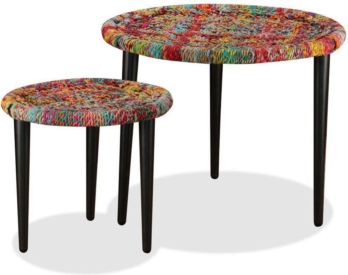 2 x Salontafel Meerkleuren (Incl dienblad) woonkamer tafel decoratie tafel salon tafel wandtafel Koffietafel online kopen