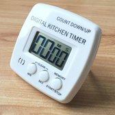 Keuken timer digitale elektronische luid alarm magnetische backing met houder voor koken bakken sport games Office (wit)