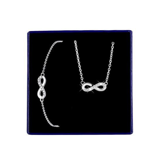 Zilveren set infinity met zirkonia