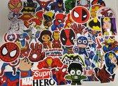 Stickerset met 50 stuks hero stickers voor skateboard, stuntstep of helm