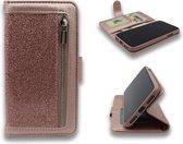 Apple iPhone 7 Plus & 8 Plus Hoesje - Hoge Kwaliteit Glitter Portemonnee Book Case met Rits - Roségoud