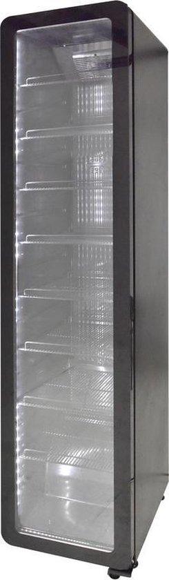 Koelkast: Gastro-Cool GD175 - Retro Slimline koelkast met glazen deur 220 Liter - Zwart/Zwart/Zwart 255100, van het merk Gastro-Cool