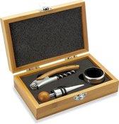 Wijnset 3 delig in bamboe kist - Giftbox met kurkentrekker, wijnring en flessenstop van RVS - Wijn & Co