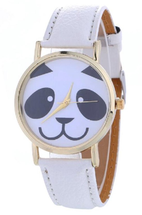 Hidzo Horloge Panda ø 37 mm – Wit – Kunstleer