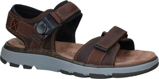 Clarks Un Trek Part Heren Sandalen - Dark Tan Lea - Maat 47