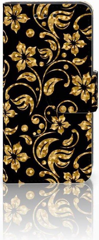 Samsung Galaxy S4 Mini i9190 Wallet Book Case Hoesje Design Gouden Bloemen