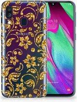 Samsung A40 TPU Silicone Hoesje Design Gouden Bloemen