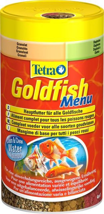 Tetra goudvissenvoer menu mix korrels vlokken crisps watervlooien 250ml