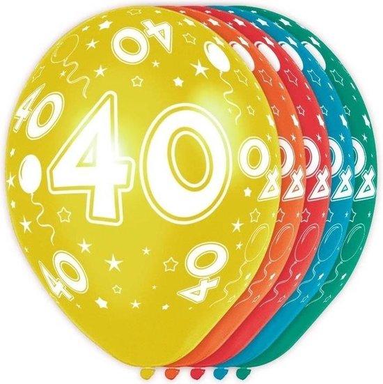 5x stuks 40 Jaar thema versiering helium ballonnen 30 cm - Leeftijd feestartikelen 40 jarige