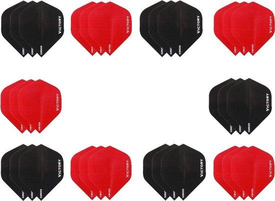 Dragon darts - 10 sets (30 stuks) - XS100 Poly flights - duo kleur pakket - Zwart en Rood – dart flights - darts flights