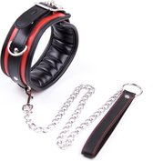 Banoch - Collar & leash Silver - Halsband en Riem - Zwart / Rood met zilver