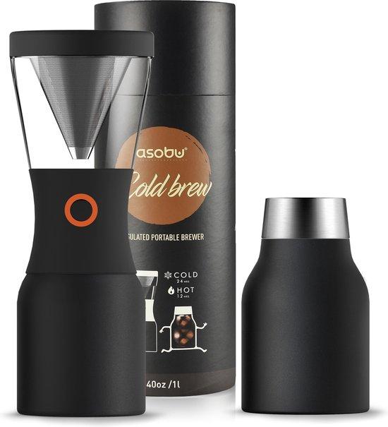 Asobu Koffiemaker Cold Brew 1 Liter RVS Zwart
