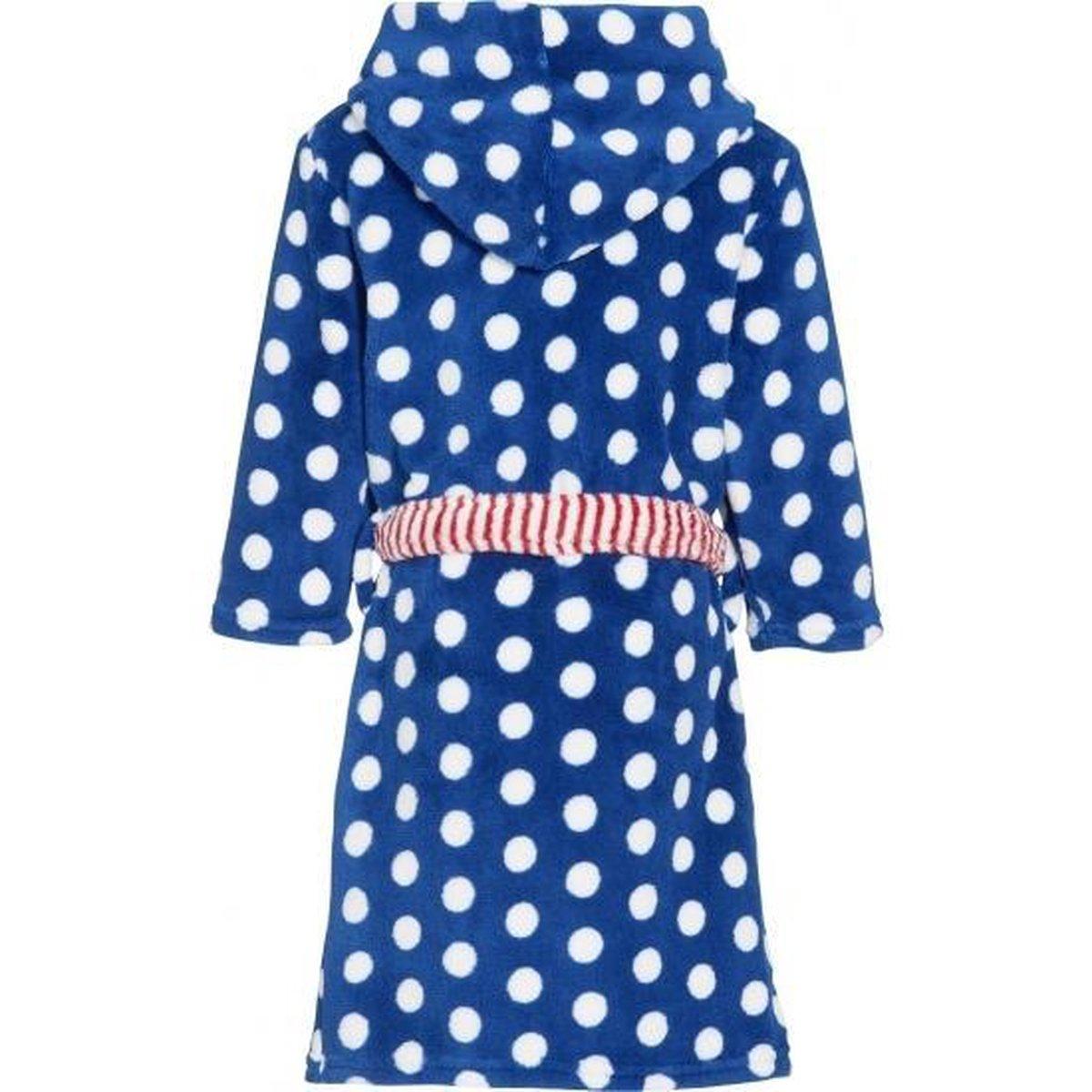 Blauwe badjasochtendjas met witte stippen print voor kinderen. 98104 (4 5 jr)