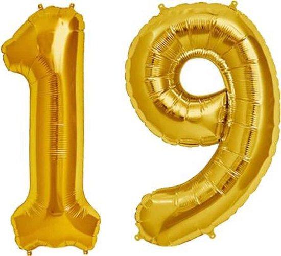 Cijfer 19 Goud Helium 86 cm Excl. Helium